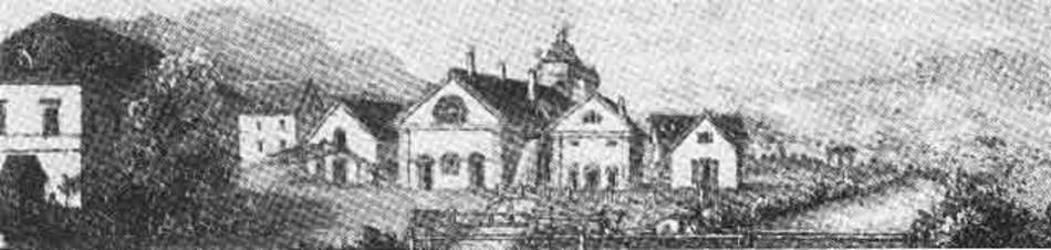 Lithografie des Eisengusswerks in Brückl um 1855